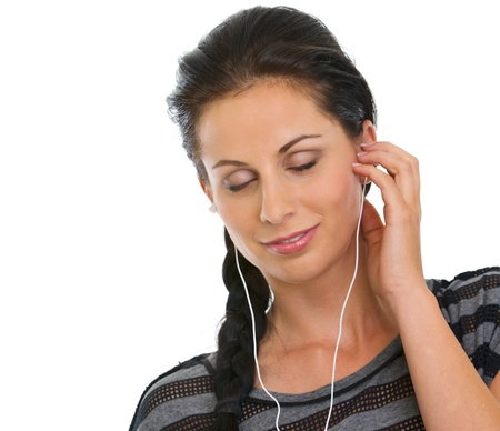 Portrait of girl with headphones relaxing by listening music Stock Photo - 14634495