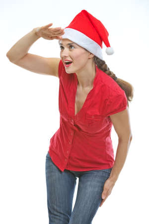Young woman in Christmas hat looking into distance Stock Photo - 14768182