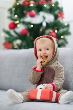 Baby in deer suit with Christmas present box eating cookie Stock Photo - 14917652