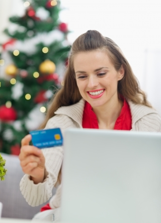 Happy young woman making Christmas shopping on internet Stock Photo - 14901598
