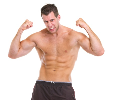 Portrait of angry muscular sports man photo