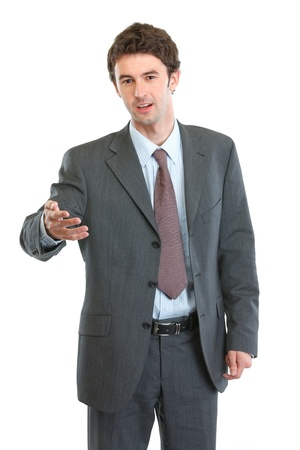 emotionality: Businessman talking and gesturing Stock Photo