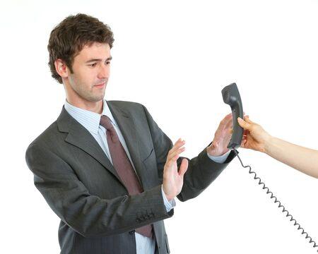 repondre au telephone: Homme d'affaires concern� refuse appel t�l�phonique r�ponse