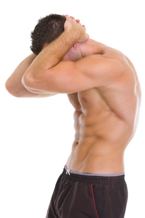 showing muscles: Muscular man showing abdominal muscles