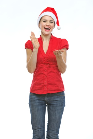 Happy young woman in Christmas hat clapping hands Stock Photo - 15366688