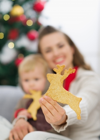 Closeup on Christmas deer shaped cookies in mother hand Stock Photo - 15366334