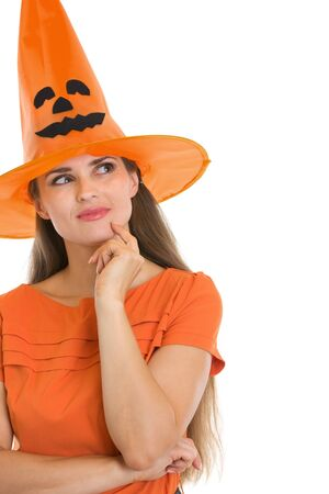 Portrait of thoughtful young woman in Halloween hat Stock Photo - 15762205
