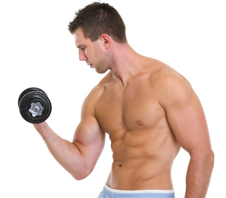 male athlete: Strong male athlete raising dumbbell