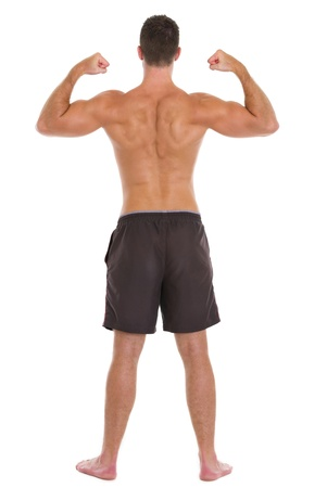 individual sport: Strong man sports man showing muscular back Stock Photo
