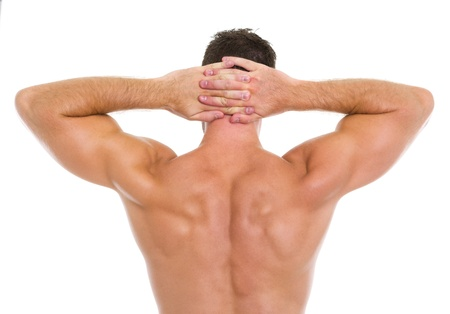 back training: Strong athletic man showing muscular back Stock Photo