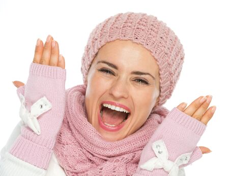 Cheerful young woman in knit winter clothing Stock Photo - 15892899