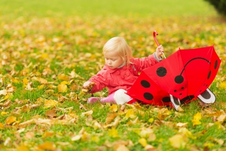Baby with red umbrella collecting fallen leaves Stock Photo - 16084842