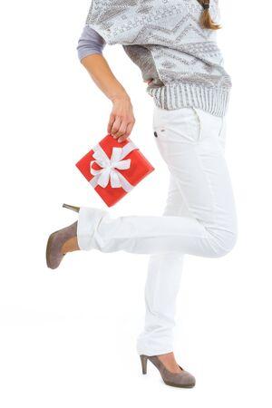 christmas present box: Closeup on woman holding Christmas present box
