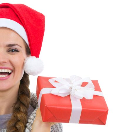 Closeup on smiling woman holding Christmas present box Stock Photo - 16336915