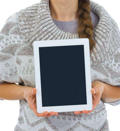 Closeup on tablet PC blank screen in woman hands Stock Photo - 16336967