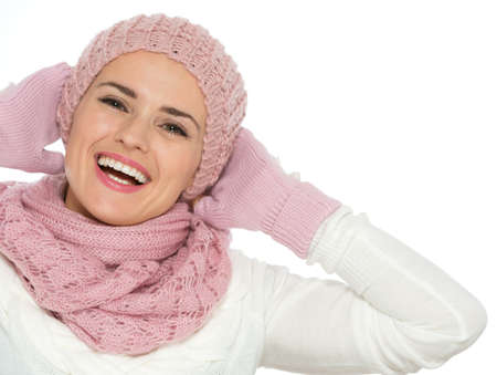 Portrait of happy woman in knit scarf, hat and mittens Stock Photo - 16467240