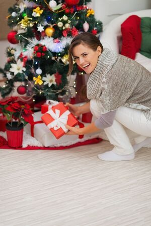Happy woman putting present box under Christmas tree Stock Photo - 16467221
