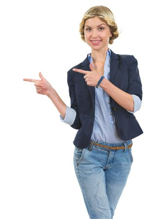 Smiling girl pointing on copy space Stock Photo - 16515852