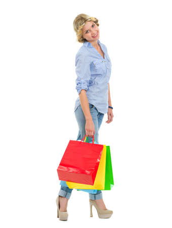 Portrait of happy teenage girl with shopping bags Stock Photo - 16515773