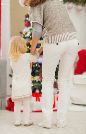 Baby and mother in front of Christmas tree. Rear view Stock Photo - 16577993
