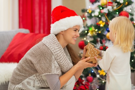 Happy mother and baby playing near Christmas tree Stock Photo - 16578019
