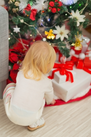 Baby taking Christmas present from under Christmas tree. Rear view Stock Photo - 16577996