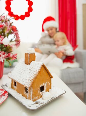 Closeup on Christmas Gingerbread house and mother and baby using tablet PC in background Stock Photo - 16577958