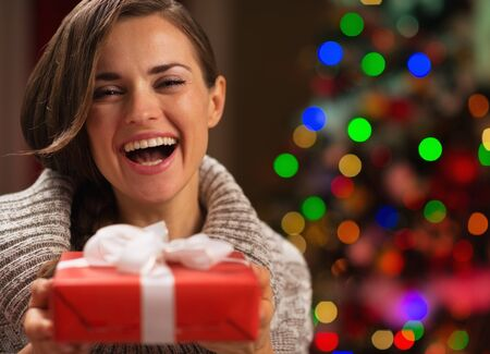 Portrait of happy woman with Christmas present box Stock Photo - 16711008
