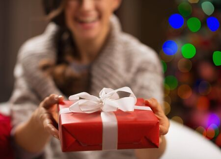 Closeup on Christmas gift box in woman hands Stock Photo - 16711011