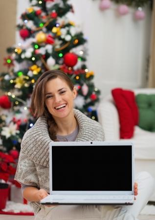 Smiling woman showing laptop blank screen near Christmas tree Stock Photo - 16720164