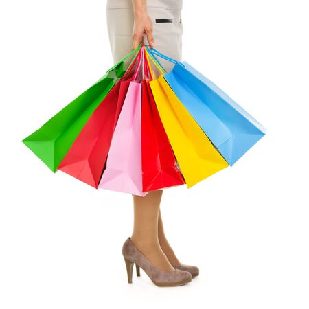 Closeup on shopping bags in woman hand Stock Photo - 16882279