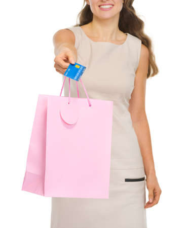 Closeup on shopping bags and credit card in woman hand Stock Photo - 16882291