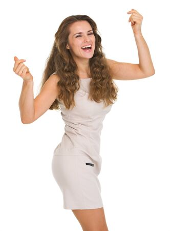 Happy young woman in dress dancing Stock Photo - 16882328