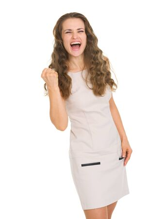 Happy young woman in dress showing yes gesture Stock Photo - 16882306