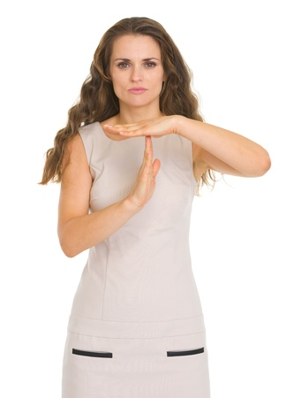 disquieted: Concern young woman showing stop gesture