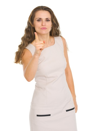 stringent: Serious young woman threatening with finger