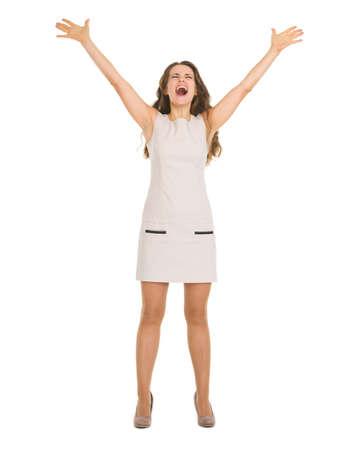 rejoicing: Happy young woman in dress rejoicing success