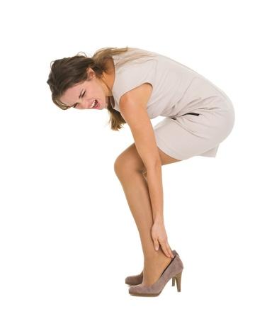 convulsion: Mujer que tiene dolor en el tobillo