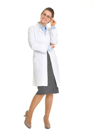 Full length portrait of smiling ophthalmologist doctor with glasses Stock Photo - 17056190