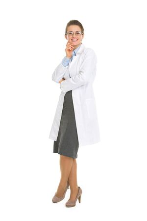 Full length portrait of happy oculist woman with glasses photo