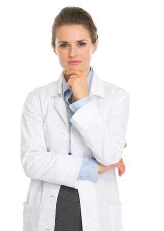 authoritative: Portrait of thoughtful woman in white robe