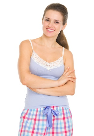 Portrait of smiling young woman in pajamas Stock Photo - 17137392