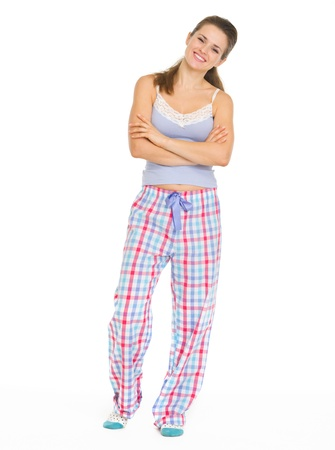Full length portrait of young woman in pajamas Stock Photo - 17137452