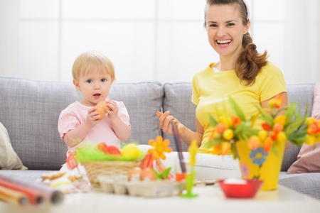 Baby and mother having fun on Easter Stock Photo - 17304864