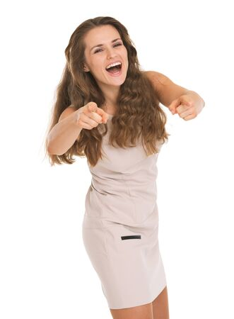 Happy young woman pointing on in camera Stock Photo - 17382829