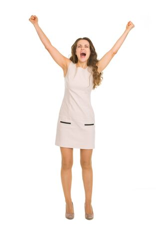 Happy young woman rejoicing success Stock Photo - 17382843