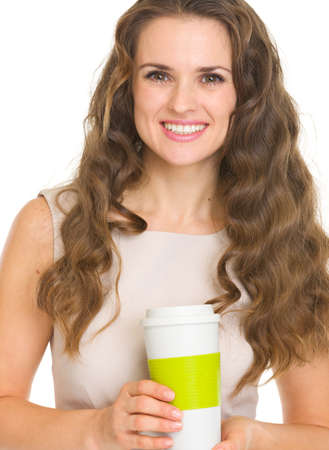 Happy young woman holding coffee cup Stock Photo - 17382794