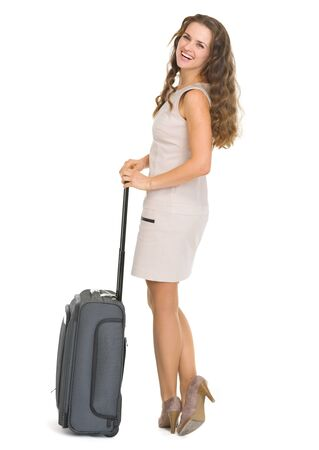 Happy young woman with wheels suitcase Stock Photo - 17382823