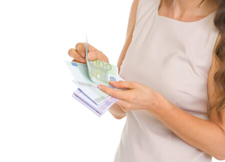 Closeup on woman counting euros Stock Photo - 17382836