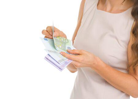 Closeup on woman counting euros Stock Photo - 17382836